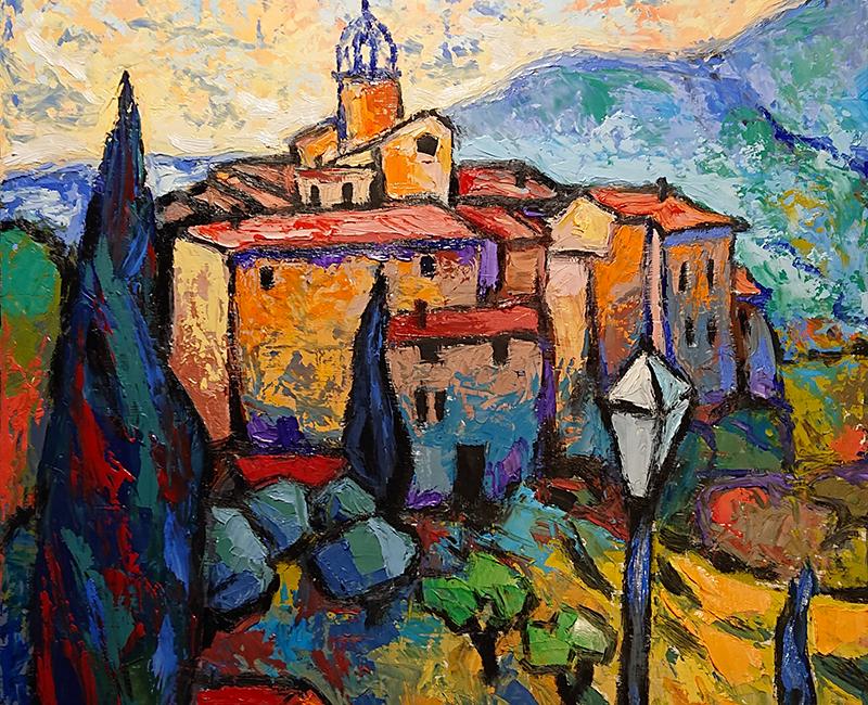 Peinture du village de Venterol (Drôme), par Daniel Lacombe